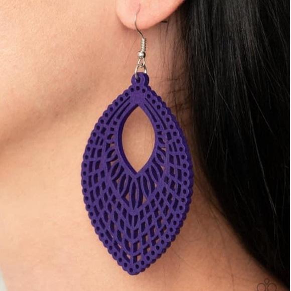 Paparazzi Purple Wooden Earrings